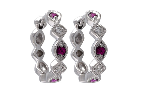 E028-55369: EARRINGS .20 RUBY .25 TGW